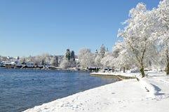 Zima w Tutzing na Jeziornym Starnberg, Niemcy Zdjęcie Royalty Free