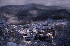 Zima w wiosce w Czarnym lesie troszkę, Niemcy Zdjęcia Stock
