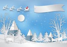 Zima wakacje śnieg i góry tło z Santa, ilustracja wektor