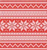Zima wakacje Bezszwowy Trykotowy wzór Czerwony i biały wektorowy illustartion Obraz Royalty Free