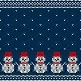 Zima wakacje Bezszwowy Trykotowy wzór z Snowmans Obrazy Stock