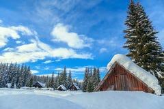 Zima wakacje dom w Slovenia alps zdjęcia royalty free