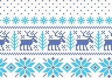 Zima wakacje dziania wzór z choinki Bożenarodzeniowy Dziewiarski puloweru projekt Wełny trykotowa tekstura royalty ilustracja