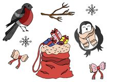 Zima wakacje elementy w secie Wektorowi śliczni znaki royalty ilustracja