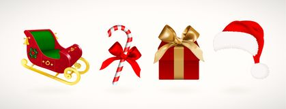Zima wakacje ikony Set Bożenarodzeniowy Święty Mikołaj sanie, kapelusz, prezenta pudełko z złotym faborkiem i cukierek trzcina, R ilustracji