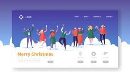 Zima wakacje Ląduje strona szablon Wesoło boże narodzenia i Szczęśliwy nowy rok strony internetowej układ z Płaskimi ludźmi chara royalty ilustracja