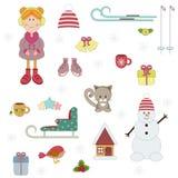 Zima wakacje set ilustracja wektor