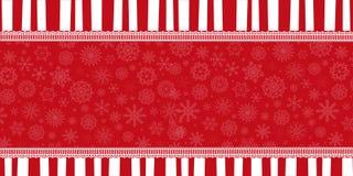 Zima wakacje sztandar z czerwonymi i białymi lampasami, ilustracji