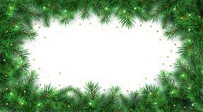 Zima wakacje tło Granica z choinek gałąź i złocistą błyskotliwość confetti dekoracją ilustracji