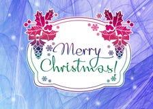Zima wakacje tło z powitanie teksta ` Wesoło bożymi narodzeniami! ` Fotografia Royalty Free