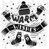 Zima wakacje wita ilustrację z literowania «Ciepłymi życzeniami ilustracja wektor