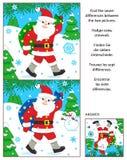 Zima wakacje znajdują różnica obrazka łamigłówkę z Santa Klaus Zdjęcie Stock