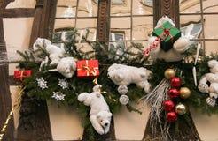 Zima wakacji dekoracja na ryglowym domu Strasburg Zdjęcie Royalty Free