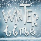 Zima wakacji karta z zima czasu literowaniem Obrazy Stock