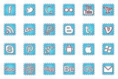 Zima wakacji Ogólnospołeczne medialne ikony Fotografia Stock