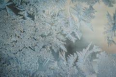 Zima wakacji sezonu światu fantazji pojęcie: Makro- wizerunek Nadokiennego szkła Naturalnego lodu Mroźni wzory Z kopii przestrzen zdjęcia royalty free