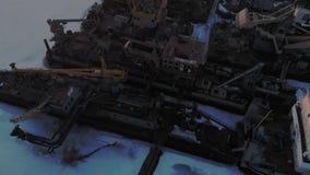 Zima warunek logistycznie statki, powietrzna strzelanina zbiory