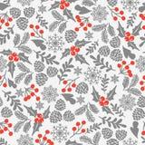 Zima wektoru bezszwowy wzór z uświęconymi jagodami Część Bożenarodzeniowi tła inkasowi Może używać dla tapety, deseniowy fi Zdjęcie Royalty Free