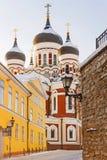 Zima widok Aleksander Nevsky katedra w Tallinn, Estoni fotografia royalty free