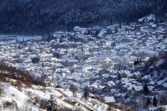 Zima widok Brasov średniowieczny miasto obraz stock