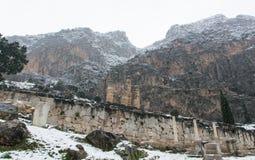 Zima widok Delphi g?ry fotografia stock