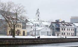 Zima widok miasto Minsk, Nemiga okręg Fotografia Stock
