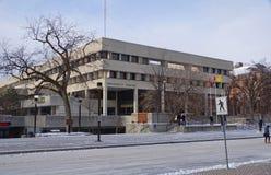 Zima widok na Uniwersyteckim Centre budynku, uniwersytet Manitoba obraz stock