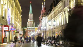 Zima widok Nikolskaya uliczny timelapse wewnątrz zdjęcie wideo