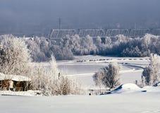 Zima widok Novosibirsk w gęstej mgle obraz royalty free