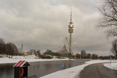 Zima widok przy Olympiapark Monachium Munchen Niemcy Fotografia Stock