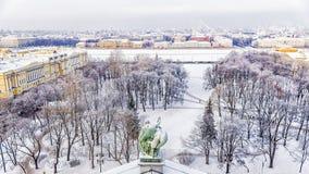 Zima widok Senacki kwadrat w St Petersburg panorama dla obraz royalty free