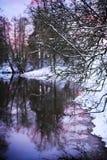 Zima wieczór rzeka obraz royalty free