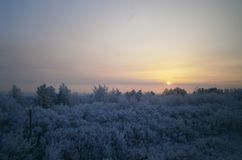 Zima wieczór w Urals Zdjęcia Royalty Free