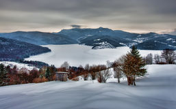 Zima wiejski krajobraz zdjęcie royalty free