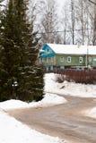 Zima wiejski krajobraz z widokiem Rosyjskiej wioski Obraz Stock