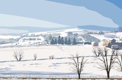 Zima wiejski krajobrazowy wektor Mała wioska i udział śnieżne tło ilustracje ilustracja wektor