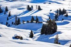 Zima wschód słońca nad Alpe Di Siusi Dolomit, Włochy fotografia royalty free
