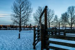 Zima wschód słońca nad Cochrane, Cochrane, Alberta, Kanada Obrazy Stock