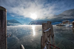 Zima wschód słońca przy pięknym jeziornym Achensee w Tyrol, Austria Zdjęcie Stock