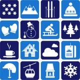 Zima/wysokogórscy/narciarscy piktogramy Zdjęcia Royalty Free
