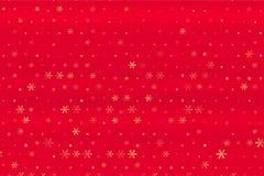 Zima wzór z Złotymi gwiazdami i płatek śniegu na czerwieni zamazywał tło Rosnąca wektorowa grafika ilustracji