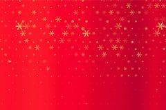 Zima wzór z Złotymi gwiazdami i płatek śniegu na czerwieni zamazywał tło Rosnąca wektorowa grafika ilustracja wektor