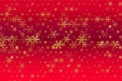 Zima wzór z Złotymi gwiazdami i płatek śniegu na czerwieni zamazywał tło Rosnąca wektorowa grafika royalty ilustracja