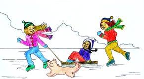 zima zabawy ilustracji
