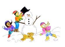 zima zabawy royalty ilustracja