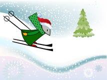 Zima zabawy Mysz sking Fotografia Stock
