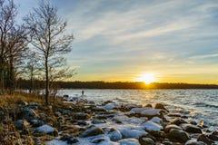 Zima zmierzch na morzu bałtyckim Zdjęcia Royalty Free