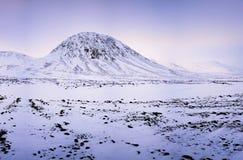 Zima zmierzch nad stołowymi ziemiami Obraz Stock
