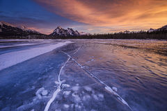 Zima zmierzch przy Kootenay równiną ER Obrazy Royalty Free