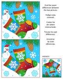 Zima znajduje różnica obrazka łamigłówkę z trykotowymi skarpetami Obraz Royalty Free